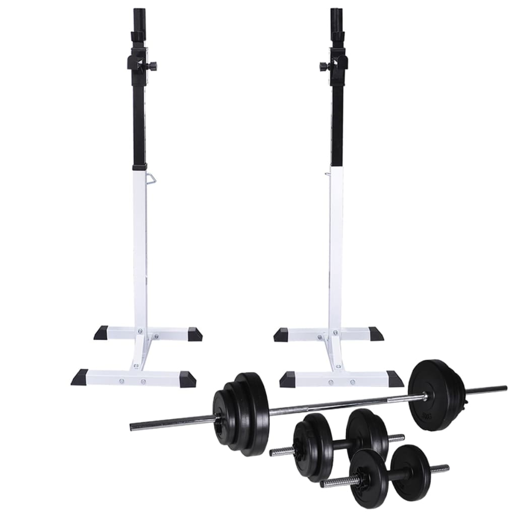 Barbell Squat Rack with Barbell and Dumbbell Set 30.5 kg
