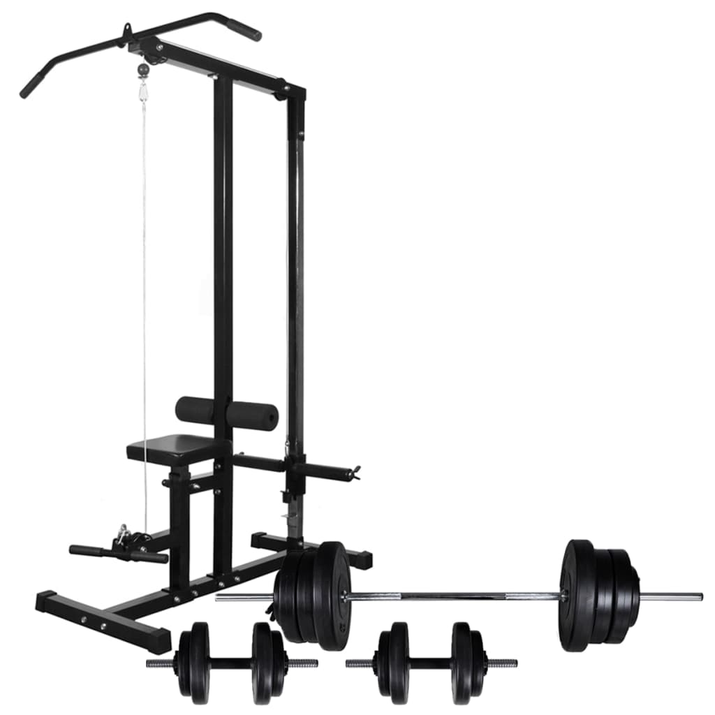 Power Tower with Barbell and Dumbbell Set 60.5 kg