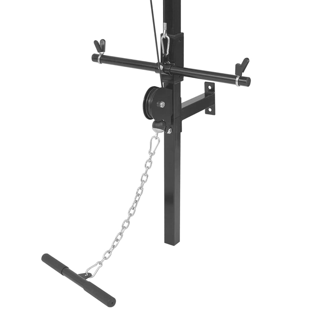 Wall-mounted Power Tower with Barbell and Dumbbell Set 30.5 kg