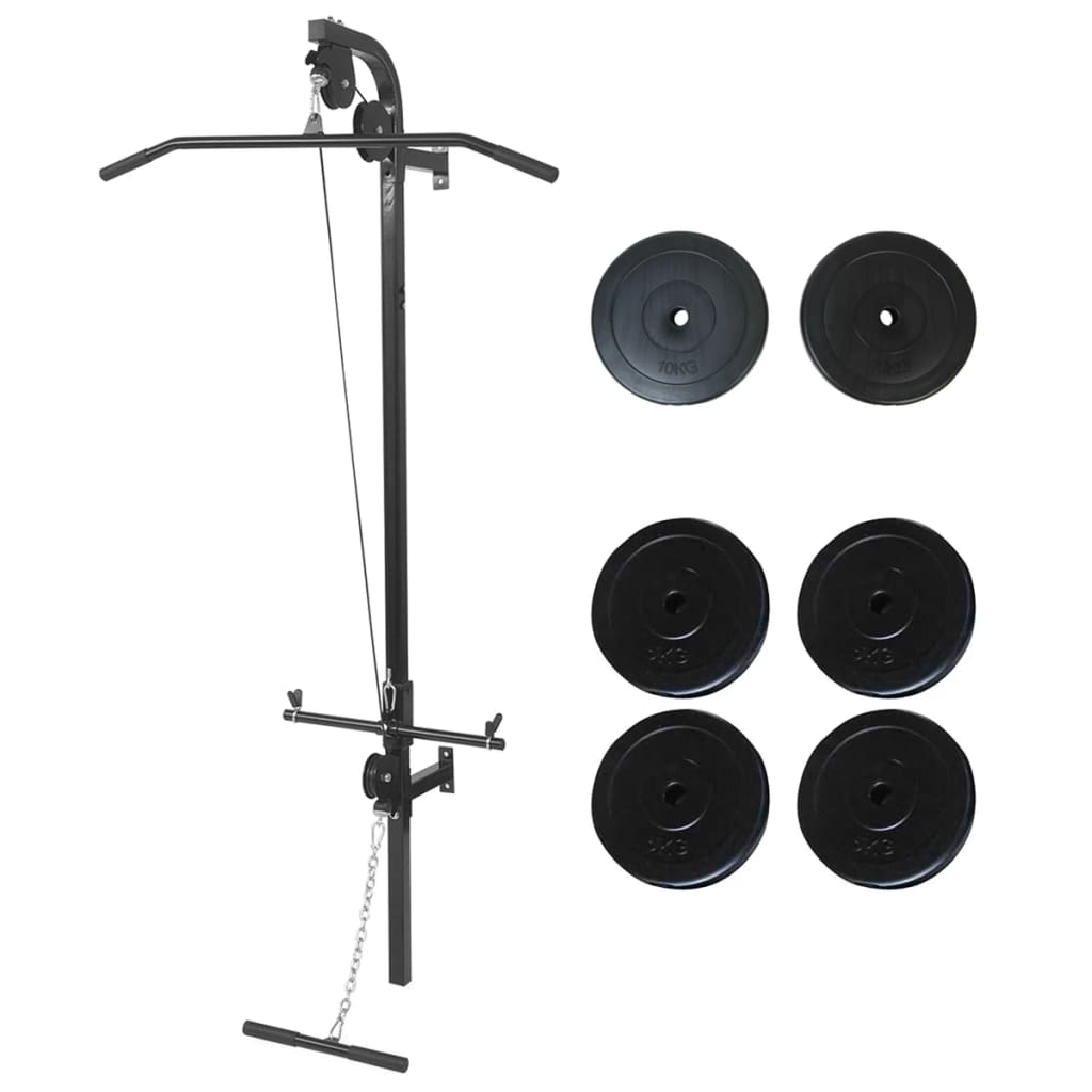 Wall-mounted Power Tower with Weight Plates 40 kg